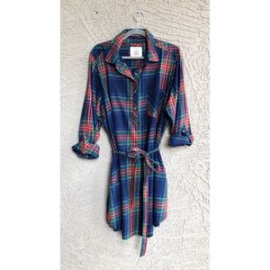 SO Preppy Plaid Navy & Red Belted Shirt Dress